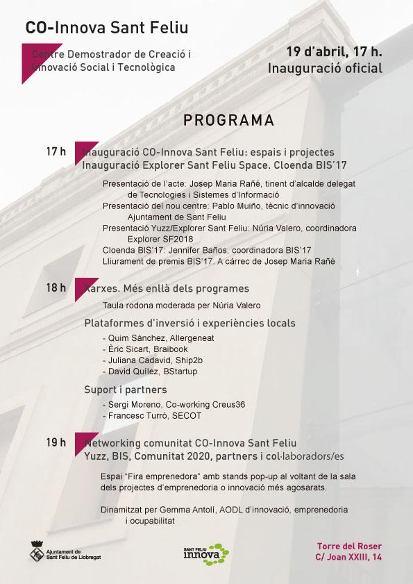 Programa inauguración Torre Del Roser